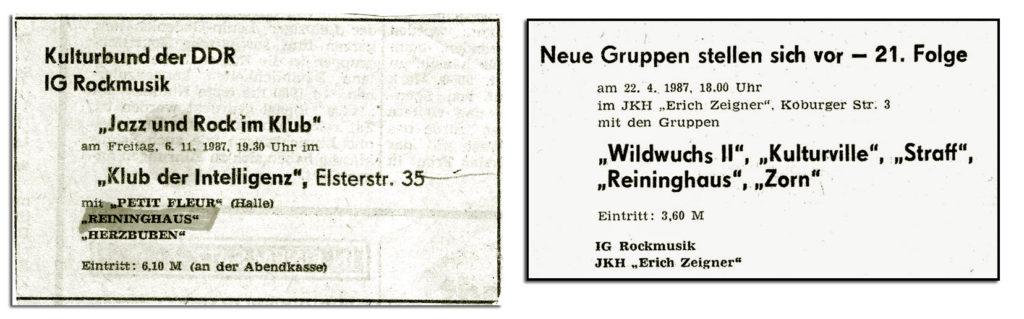 Anzeigen zu Konzerten von Reininghaus in der oertlichen Presse