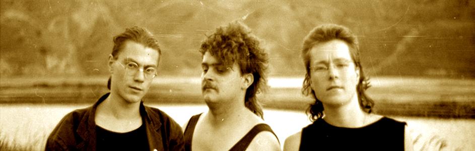 The Real Deal: Fotosession in einem Tagebau bei Leipzig, Sommer 1988 (Reininghaus, Kaiser, Müller v.l.n.r.)